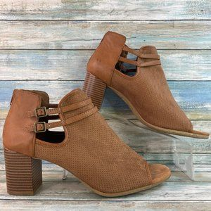 New York Transit Brown Open Toe Ankle Booties